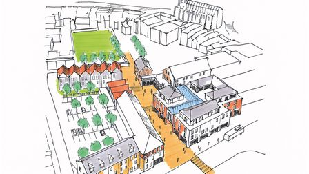 The artist impression of the Hamilton Road quarter in Sudbury, which is getting �500,000 from the bu