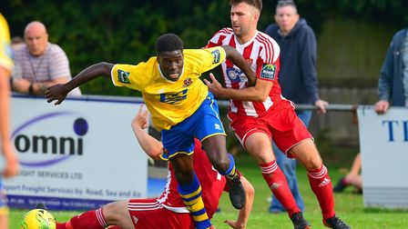 Sudbury's Mehki Mckenzie, proved a handfull all afternoon for the Seasiders Photo: THOMAS BRADFORD
