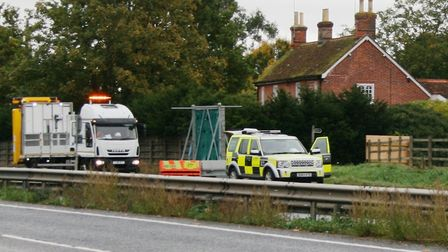 Emergency services and Highways England staff at the scene Picture: PAUL GEATER