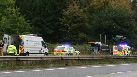 Emergency services and Highways England staff at the scene of the crash on the A14 at Rougham Pict