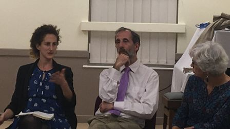 Hannah Weisfeld begins her address alongside Barry Spivack and Beverley Levy Picture: ARCHANT