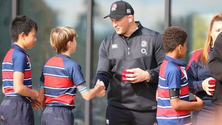 England star Dylan Hartley meets youngsters at the Finborough School rugby festival. Picture: FINBOR