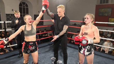 Tamzin Raison, left, celebrates her win over Hollie Campbell at Road to Glory 9 in Motherwell. Pictu