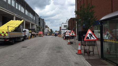 The roadworks earlier this year. The work is now entering its final phase Picture: EMMA BRENNAN