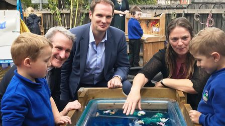 Education Secretary Damian Hinds and Dr Dan Poulter with headteacher Julia Waters and pupils at Palg