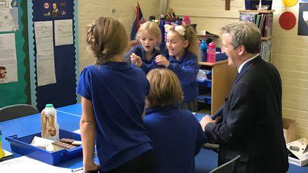 Education Secretary Damian Hinds with pupils at Palgrave Primary School. Picture: Office of DR DAN P