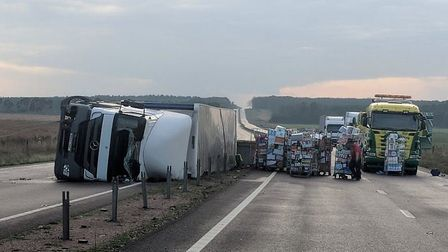The lorry, carrying food stock flipped onto it's side pulling away the wire from the central reserva