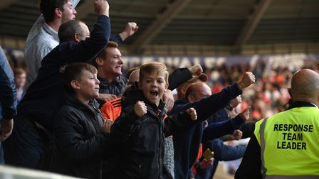 Ipswich Town fans celebrate Trevoh Chalobah's winning goal at Swansea City. Photo: Pagepix