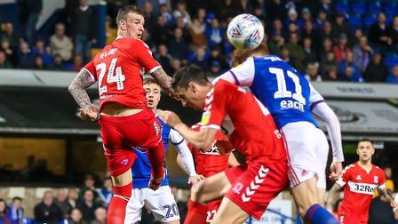 Jon Nolan had Ipswich's best chance against Middlesbrough on Tuesday night. Picture: STEVE WALLER