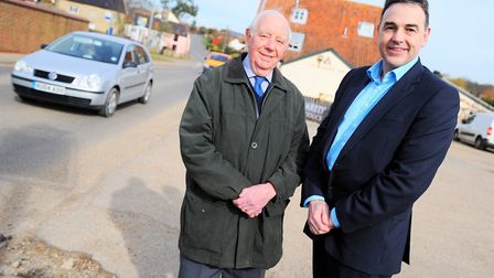 Graham Woodcock of Snape Parish Council and Simon Bryan of Hopkins & Moore pictured after the develo