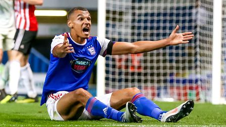 Kayden Jackson appeals to the linesman after going down in the penalty area late in the first half a