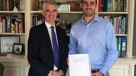 Harry Watkins (right) with South Suffolk MP James Cartlidge Picture: HARRIET STEER