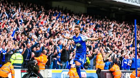 Ipswich Town fans go wild after Emyr Huws' thumping volleyed finish in the 3-1 win against Newcastle