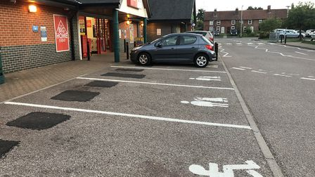 Child and parent spaces at Co-op Combs Ford Picture: HARRY COBBOLD