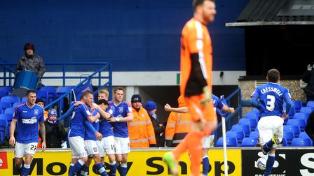 Ipswich Town celebrate after Carlos Edwards scores in the final minutes taking Ipswich to a 1-0 vict