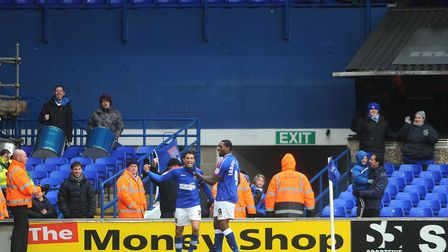 Ipswich Town celebrate Carlos Edwards' late goal against Bolton