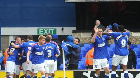 Ipswich Town players enjoy Carlos Edwards' late goal in their 1-0 win over