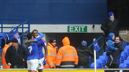 Ipswich Town players celebrate their late win over Bolton in 2013