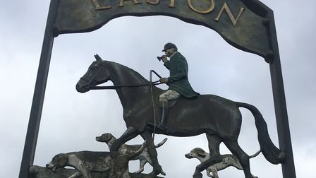 The village sign at Easton - the first created by Mary and Hector Moore. Picture: TERRY HUNT