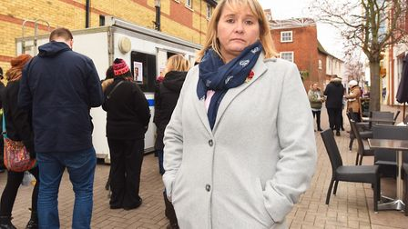 A police pod was set up in the centre of Bury St Edmunds on the year anniversary. Pictured is Nicola