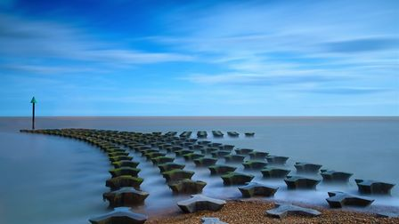 Sea defences at Cobbolds point, Felixstowe Picture: TIM DENNY
