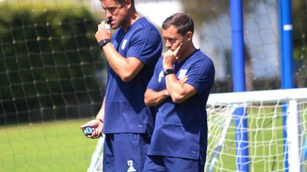 Ipswich Town boss Paul Hurst (right) and assisant Chris Doig take a training session. Photo: Ross Ha
