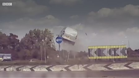 A van captured on dashcam flying into the air at a roundabout. Picture: BBC1 EAST/NORFOLK AND SUFFO