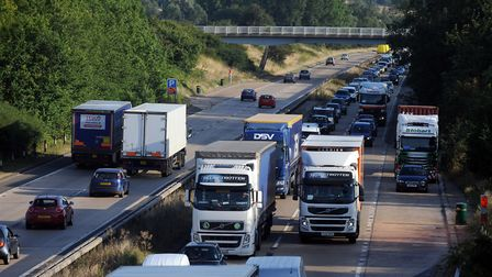 There are tailbacks on the A12 following a serious collision in the M25 Picture: PHIL MORLEY