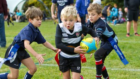 Action from the Woodbridge Rugby Club U7-U12 Festival. Pictures: SIMON BALLARD