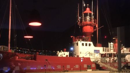 LV18 Lightship, at night, from inside the Cult Cafe