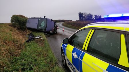 The Ford Fiesta overturned on the B1063 near Chilton Street Picture: HAVERHILL POLICE