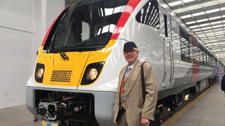 Paul Geater with one of the new Bombardier Aventra trains being built for suburban lines in East Ang