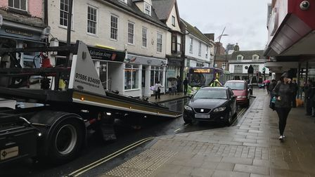 Congestion in Ipswich as police seize a vehicle Picture: AMY GIBBONS