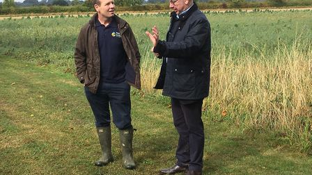 Michael Gove MP (right) with chair of the Nature Friendly Farming Network Martin Lines at his farm