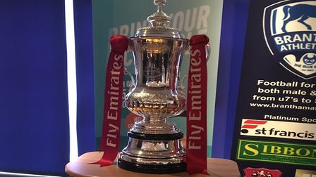 The FA Cup trophy on display in the clubhouse at Brantham Leisure Centre, the home of Brantham Athle