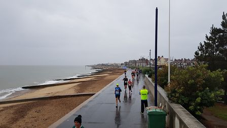 Runners headed south past the pier to Landguard, returning along the prom north to Felixstowe Ferry