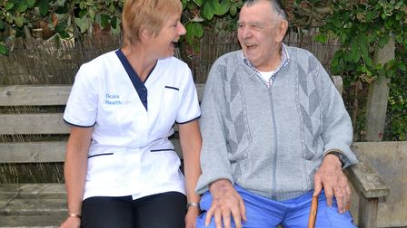 Ocala Healthcare launches a new home care service in Suffolk. Carer Carol Cage with customer Tom