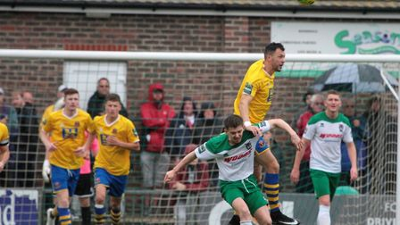 Phil Kelly helping out in defence at Bognor Regis Photo: CLIVE PEARSON