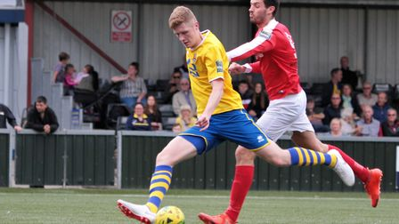 Billy Holland, who gave AFC Sudbury an early lead in a thrilling FA Cup replay at home to Bognor Reg