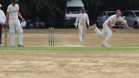 Ollie Bocking in full flight on his debut against Norfolk at Copdock. Bocking bagged 25 wickets in f