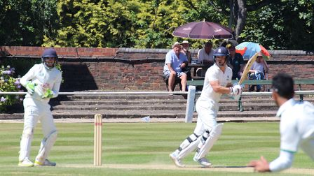 Tom Rash batting against Staffordshire at West Bromwich Dartmouth. He made valuable contributions wi