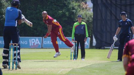 Tymal Mills bowling against Bedfordshire in the first T20 fixture at Bury St Edmunds. The England T2