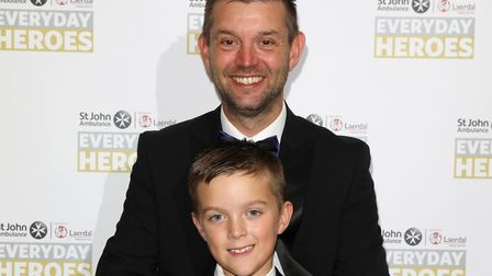 Ellis (front) and Garry Kerr at the St John Ambulance Everyday Heroes Awards Picture: TIM P WHITBY/G