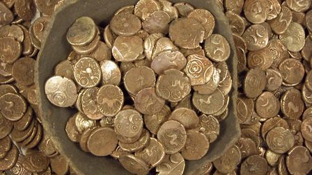 The Wickham Market Iron Age coin hoard found in 2008 at nearby Dallinghoo. 'This stash of 840 gold c