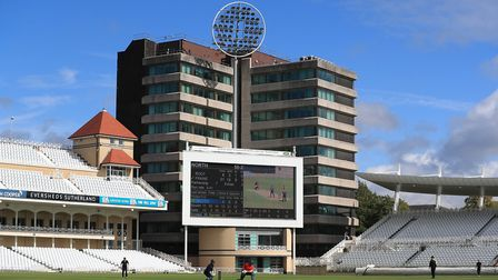 Action during the recent 100 Ball Trial match at Trent Bridge, Nottingham.