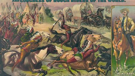 A Wild West show poster. Thousands of posters and leaflets were distributed by the advance publicity