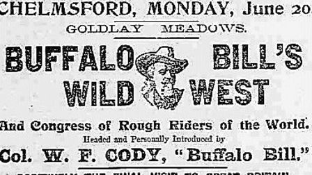 Newspaper advertisement for the Wild West's performance in Chelmsford. From the front page of the Es