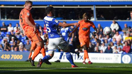Matthew Pennington doubles Ipswich's first half lead at Birmingham from a corner Picture Pagepix