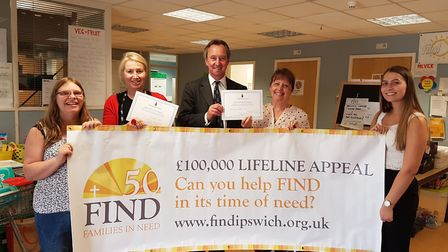 Suffolk's High Sheriff George Vestey supports the FIND 50 appeal at the Ipswich food bank. (l-r): FI