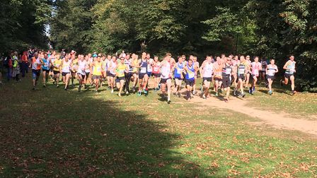 The start of the Eastern Masters Cross Country Champiionship at Nowton Park.Picture: RUSSELL COOK